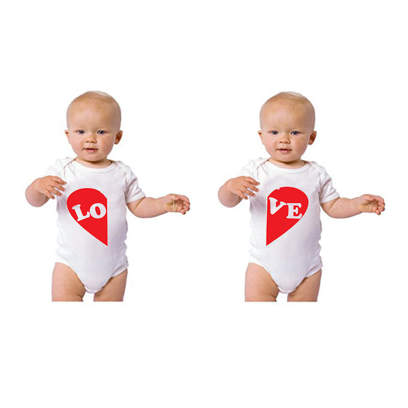 Culbutomind 0-12M Newborn Boys Girls Twins Baby Clothes LOVE Print Cute Twins Cotton Bodysuit Infant One Pieces Clothing Outfit-eosegal