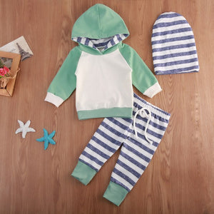 3PCS Newborn Baby Boy Girl Long Sleeve Patchwkro Hooded Sweatshirt +Striped Leggings Pants Outfits Set-eosegal