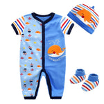 Autumn 3Pcs/Set Baby Clothing Sets 2017 Baby Boys Clothes Infant short sleeve romper+socks+Hat Kids Outfits Toddler Suit-eosegal