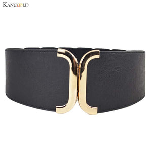 Fashion Female Brief Artificial Leather Wide Belt Women Elastic Cummerbund Strap Dress Accessories Alloy Buckle Girdle Aug19-eosegal