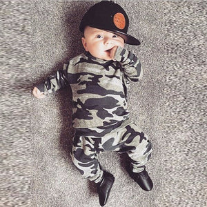 Autumn Newborn Clothes Baby Boys Girls Clothing Set Toddler Infant Camouflage Long Sleeve T-shirt Tops+Pants 2Pcs Casual Outfits-eosegal