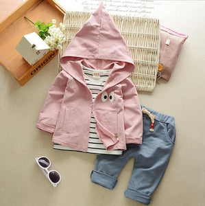 2017 Autumn Baby Girls Boys Clothes Sets Cute Infant Cotton Suits Hooded Coat+T Shirt+Pants 3 Pcs Casual Sports Jacket-eosegal