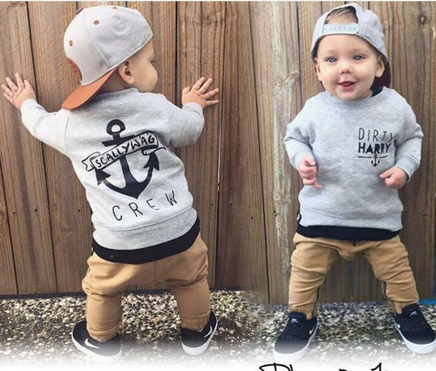 2pcs Newborn Toddler Kids Baby Boys Clothes Set Tops Hoodie Warm + Long Pants Casual Hoodies Baby Outfits Set Autumn Winter-eosegal