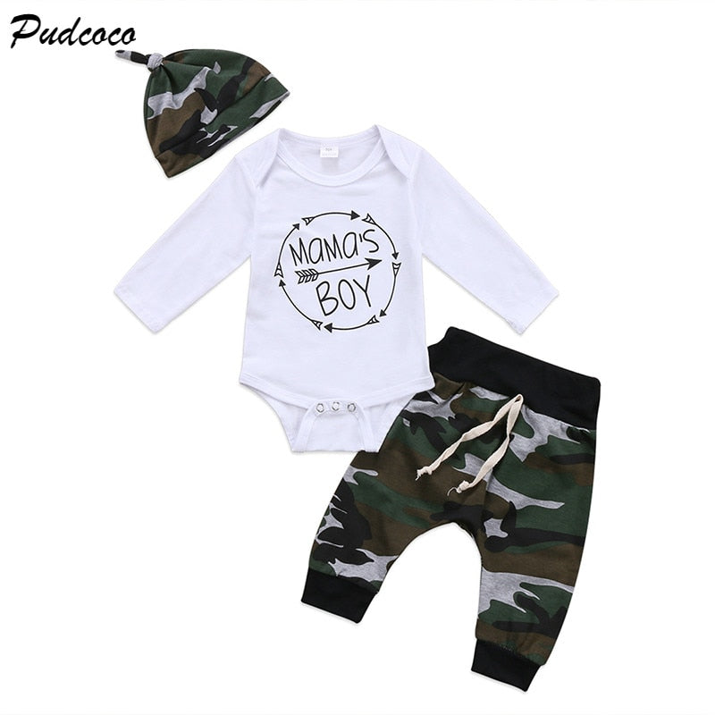 3PCS Set Mama's Boy Newborn Baby Clothing Long Sleeve Cotton Romper Tops+Camouflage Pant Trouser Hat Outfit Kids Clothes-eosegal