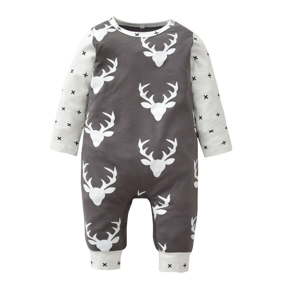 Christmas Baby Rompers Long-sleeved Deer Printed Newborn Toddler Jumpsuit Baby Boys Girls Clothes Infant Clothing-eosegal
