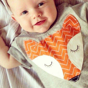 Unisex Newborn Toddler Baby Boys Girls Cute Fox Romper Jumpsuit Short Sleeve Sunsuit Cotton Outfits-eosegal