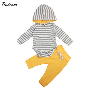Newborn Clothing 2017 Fall Autumn Casual Long Sleeve Striped Hooded Romper Tops+Long Pant 2PCS Set Infant Baby Boy Girl Clothes-eosegal