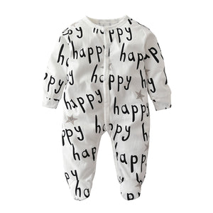 Autumn Infant Clothes Newborn Baby Boys Girls Clothing Set 100%Cotton Long sleeve Happy Letter Toddler Romper Outfits-eosegal