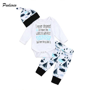 3PCS Newborn Baby Clothing Infant Boy Girl Long Sleeve Letter Print Cotton Romper Tops+Long Pant Hat Outfit Toddler Kids Clothes-eosegal