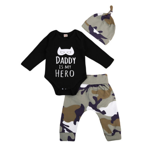 Newborn Baby Boys Tops Long Sleeve Romper Jumpsuit + Camouflage Pants Hat Outfit Set-eosegal