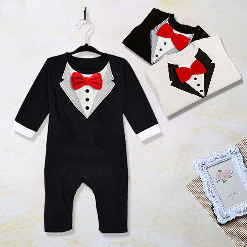 Cute Newborn Baby Clothes Kids Suit Boys Clothes Rompers Formal Gentleman Romper Cotton Outfits New Fashion 3 6 12 18 24 36M-eosegal