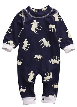 Newborn Infant Baby Girl Boy Moose Casual Long Sleeve Romper One-pieces Clohtes-eosegal