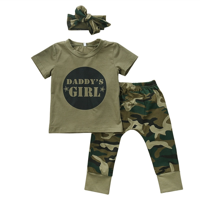 Cute Boys Girls Clothes short sleeve letter print pullover round neck T-shirts camouflage Pants Bow Headband 2 or 3pc cotton Set-eosegal