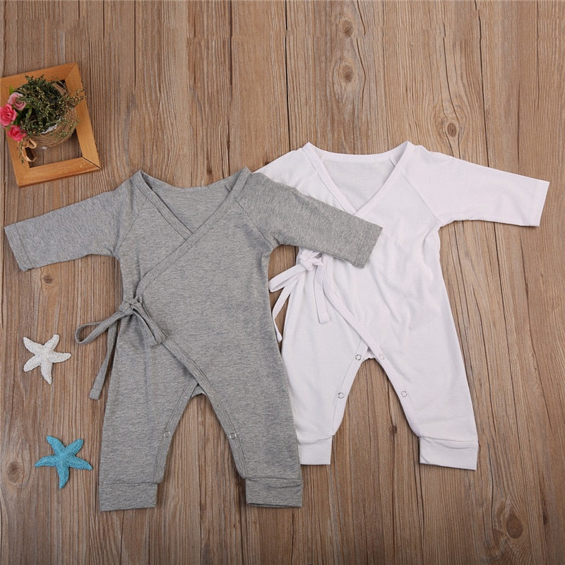 Newborn Infant Baby Boy Girl Cotton Romper Jumpsuit Boys Girl Angel Wings Long Sleeve Rompers White Gray Autumn Clothes Outfit-eosegal
