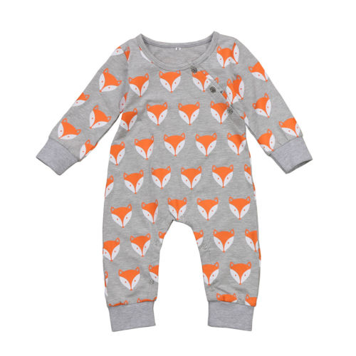 Baby Clothing Newborn Baby Boys Girls Romper Long Sleeve Fox Jumpsuit Clothes Outfits Set-eosegal