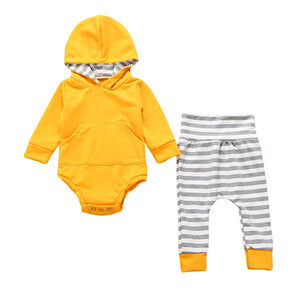 2pcs Newborn Toddler Baby Boy Girl Hooded Sweater Tops+ Striped Pants Outfits Set Clothes-eosegal