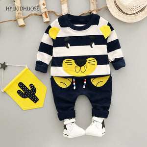 HYLKIDHUOSE 2017 Autumn Infant/Newborn Cotton Clothes Sets Baby Boys Girls Suits Stripe Cartoon T Shirt+Pants Child Kids Suits-eosegal