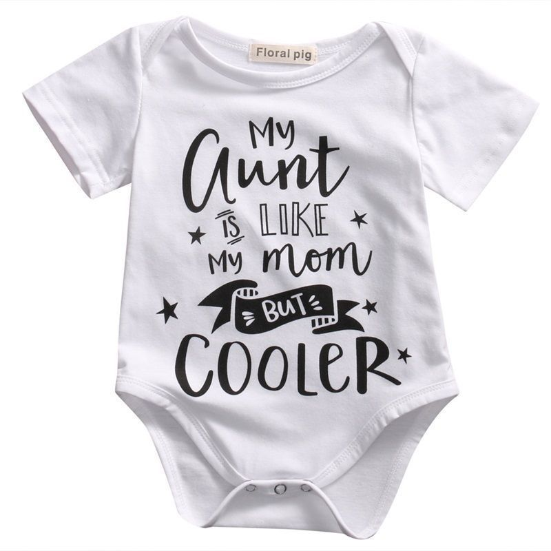 my aunt Toddler Baby Bodysuit White Letter Stars Print Cotton Newborn Infant Boy Girl Unisex Clothes Short Sleeve Outfits 0-18M-eosegal