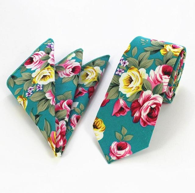 Purple Floral Tie 6cm Blue Slim Cotton Tie And Handkerchief Seteosegal-eosegal