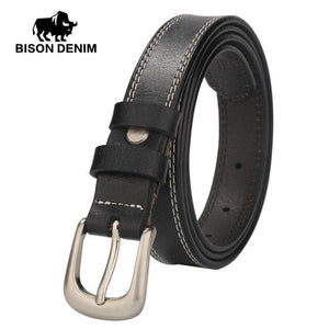 BISON DENIM High Quality Designer Genuine Cowhide Leather Belts Women Female Girl Strap Casual Jeans Dress Accessories N60198-eosegal