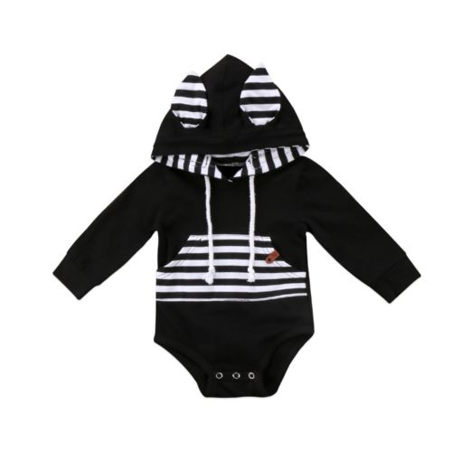 Newborn Infant Baby Boy Long Sleeve Striped Patchwork Romper Ear Jumpsuit Clothes Outfits 0-24M-eosegal