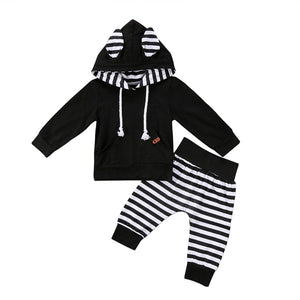 2PCS Newborn Baby Clothes Long Sleeve Pocket Hooded Tops Black+Striped Harem Pant Trouser Outfit Kid Boy Girl Clothing Set 0-24M-eosegal