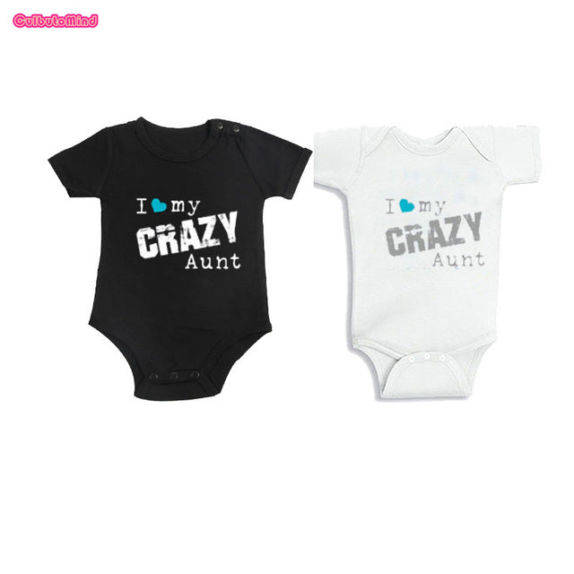 Culbutomind Aunt and Niece, Aunt and Nephew, I Love My Crazy Aunt Custom Name Baby Body Suit Baby First Birthday Shower Gift-eosegal