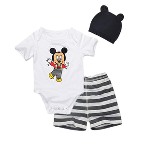 Newborn Baby's Sets 3pcs Summer Casual Cotton Boys Clothes Cartoon Mickey Long Sleeve Bodysuits+Pants+Hat Baby Girls Clothing-eosegal