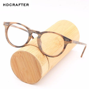 HDCRAFTE Wooden Myopic Glasses Frame Men Women Clear Lens Reading Round Glasseseosegal-eosegal