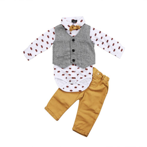 Newborn Baby Boys Clothes Sets Formal Suit Waistcoat Tops Bowtie Long Sleeve Pants Outfits Clothing Set Baby Boy-eosegal