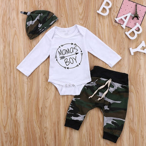 Baby Boy Clothes Set Fall Warm Hot Newborn Baby Long Sleeve Romper Top Camo Pants Hat 3Pcs Outfit 2017 New Bebes Boy Clothes Set-eosegal
