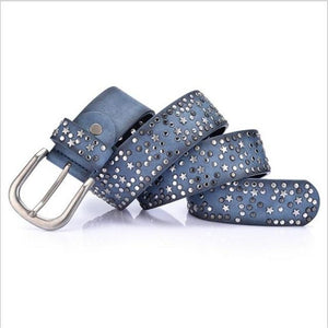 SupSindy woman belts Star geometric rivet pin buckle PU belt for women European fashion top quality faux leather strap for jeans-eosegal