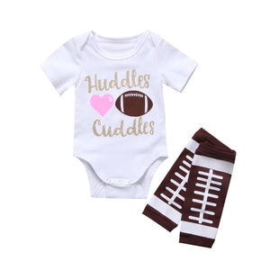 Newborn Infant Baby Boy Outfit Clothes Romper Jumpsuit Bodysuit+Pants Set Football huddles-eosegal