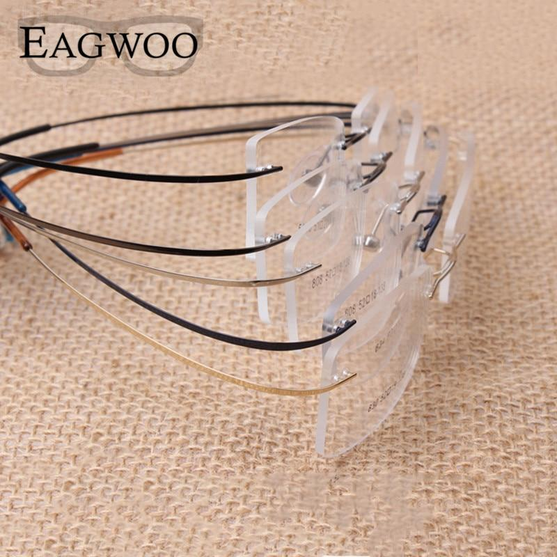 Pure Titanium Eyeglasses Rimless flexible Optical Frame Prescription Spectacle Frameless Glasses Eyeeosegal-eosegal