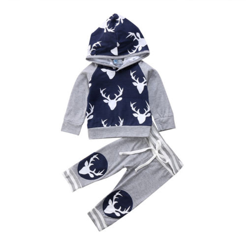 Autumn Winter Casual Newborn Baby Boys Deer Long Sleeve Hooded Tops Pants Outfits Set Clothes-eosegal