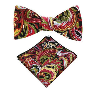100%Cotton Floral Self Tie Bow Ties and Handkerchief Set For Meneosegal-eosegal