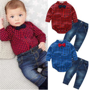 2PCS Set New Kids Baby Boy Romper Jumpsuit Tops+Jeans Pants Gentleman Outfits Children Clothes Set-eosegal