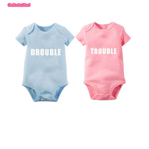 Culbutomind Cotton Short Sleeve Blue and Pink Double Trouble Print Twins Baby Bodysuits Baby 1st Birthday Shower Gift Twins Clot-eosegal