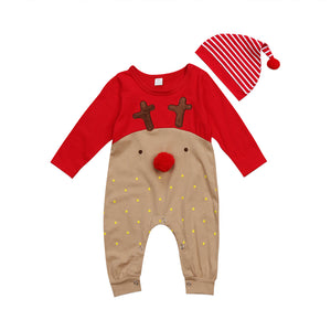 Emmababy New born Baby Boy Girl deer cartoon Christmas Rompers bebe kids cotton cute Clothes Romper Outfit +Hat-eosegal