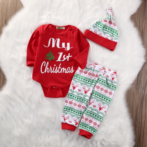 My First Christmas 3PCS Cute Baby Boys Girls Xmas Red Romper Tops Long Sleeve Pants Legging Hat Outfit Clothes Sets Hot Sale-eosegal