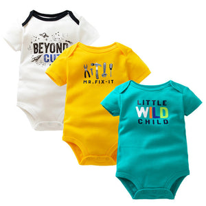3 PCS/Lot Baby Rompers 100% Cotton Summer Newborn Baby Clothing Short Sleeve Cartoon Print Baby Boy Girl Clothes Infant Jumpsuit-eosegal