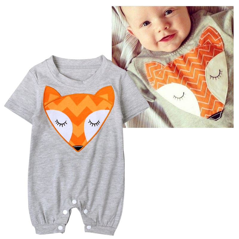 2017 Baby Bodysuits Newborn Cotton Body Baby Short Sleeve Fox Bodysuits Infant Boys Girls Pajamas Clothes-eosegal