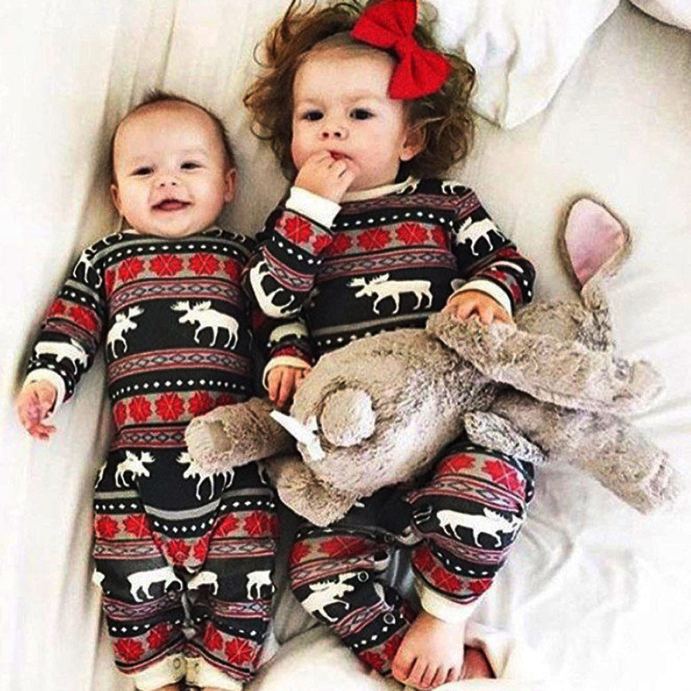 Christmas Pajamas Dress For Baby Girls Kids Boy Vestidos Toddler Baby Boy Girl Christmas Long Sleeve Deer Print Romper Clothes-eosegal