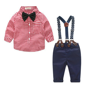 TOP and TOP Baby Boy Clothes Newborn Clothing Sets Broadcloth Cotton Gentleman Fashion Plaid Rompers + Jeans 2Pcs/set-eosegal