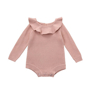 Newborn Infant Baby Boy Girl Weave Bodysuit Knitted Jumpsuit Outfits Clothes Solid Long Sleeve Boys Girls Bodysuits Sweet-eosegal