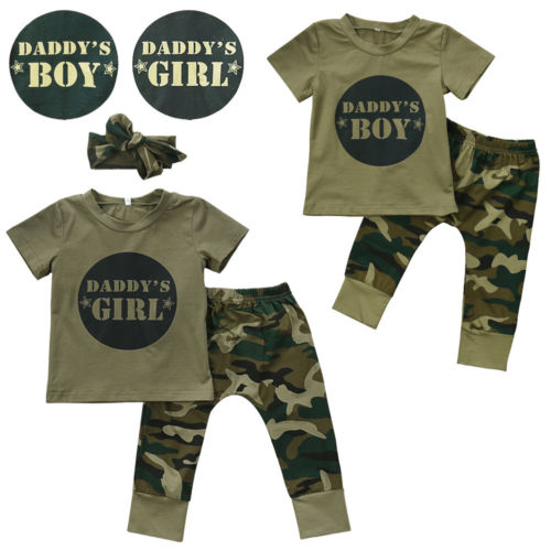 Camouflage Baby DADDYS Boys Girls Clothes Newborn T-shirt Tops Pants Outfits Set Clothes Casual-eosegal
