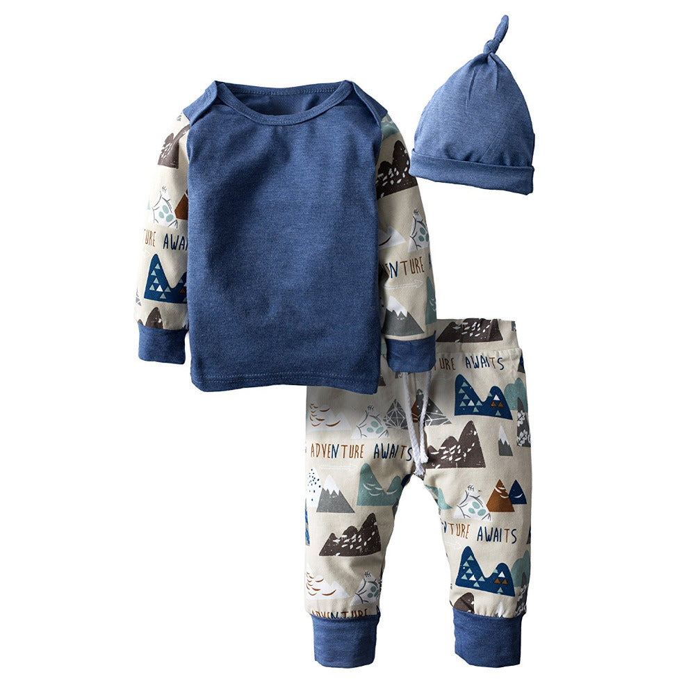 Autumn New Baby Boy Clothing Set Fashion Cotton Long-sleeved T-shirt+ Pants+Hat Kids 3pcs Outfit Newborn Baby Boys Clothes-eosegal