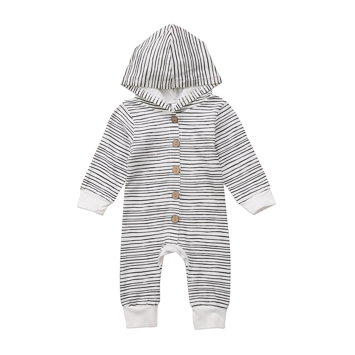 Newborn Infant Baby Boys Girls Striped Romper Long Sleeve Single-breasted Jumpsuit Clothes Outfits-eosegal