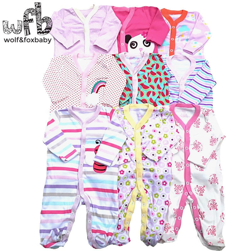 Retail 3pcs/lot 0-12months long-Sleeved Baby Infant cartoon footies bodysuits for boys girls jumpsuits Clothing newborn clothes-eosegal