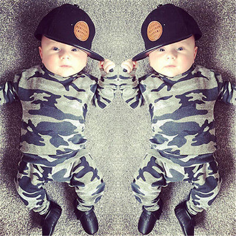 Newborn Baby Boys Girls Clothes Long Sleeve Camouflage T-shirts and Pants Infant 2pcs Sports Clothing Set Toddler Outfits-eosegal